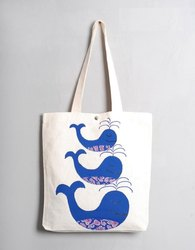 Natural Handled Printed Cotton Bags, Packaging Type: Bundle