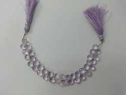 Natural Pink Amethyst Faceted Heart Beads Briolettes