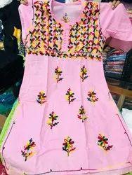 Cotton Hand Chikankari Work Kurti