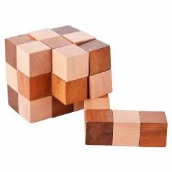 Brown Wooden Puzzle Magic Cube