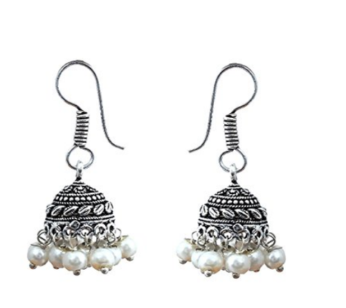 Waama Jewels Pearl Jhumki Earring White