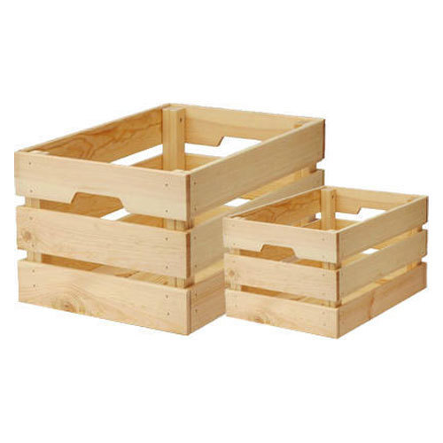 Rubber Wood Open Crates Rectangular Wood Crate