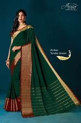 Designer Plain Cotton Silk Saree