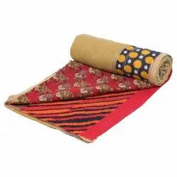 Cotton Printed Kantha Quilt for Decoration, Packaging Type: Poly Bag