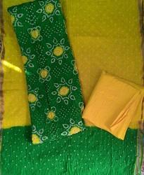 Green and Yellow Unstitched Bandhani