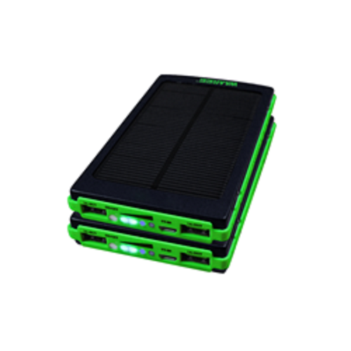Black and Green Waaree Solar Mobile Charger, Capacity: 10000 Mah Li-polymer Battery, 5 Vdc,1 Amp(input Power)