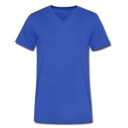 Plain Half Sleeve Mens Blue V Neck T Shirt