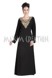 Black Beautiful Farasha With Golden Work Embroidery