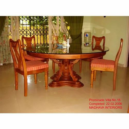 Brown Round Table Wooden Dining Table Set For Home Rs 15000 Unit Id 22118204330