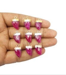 Gemstone Horn Shape Electroplated Birthstone Pendant