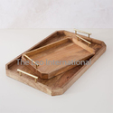 Decorative Wooden Tray with metal handle