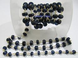 Blue Sapphire Rosary Beaded Chain