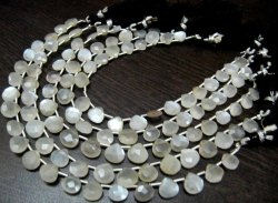 Natural White Moonstone Heart Shape Briolette Beads 8mm Beads Strand 8 Inches.