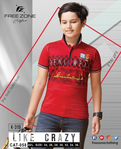 Cotton Round Free Zone Kids Printed Red T Shirt