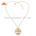 Tree Design In Round Frame 18k Gold On 925 Silver Chain Pendant