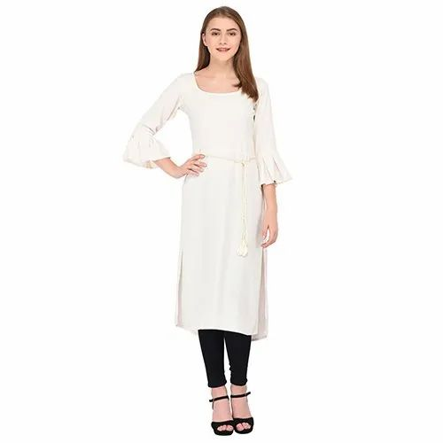 Off White Solid Kurti