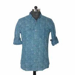 Blue Cotton Casual Dot Print Shirt