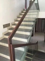 Square Wooden Glass Handrail