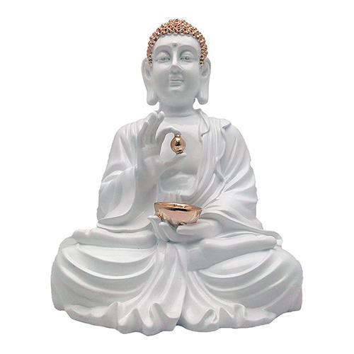 marble white gold plated lord gautam buddha statue showpiece gift