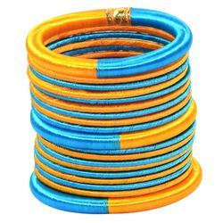 Blue and Yellow resham Thread work Bangle Set