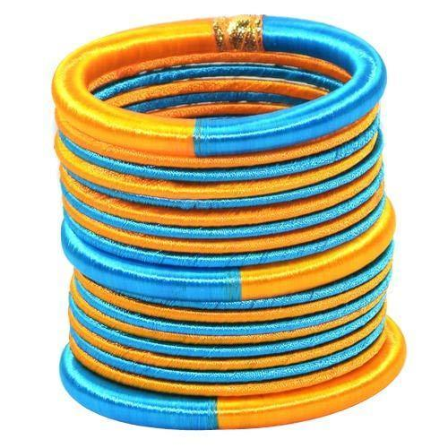 Blue and Yellow resham Thread work Bangle Set