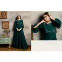 Ladies Designer Embroidered  Chiffon Gown