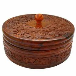 Craftland Handcrafted Wooden Box Pot For Chapatis, 7.5-Inch, Brown