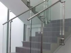 Steel Railing Staircase With Glass