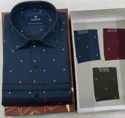 Cotton Simple Collar Stone Printed Shirt