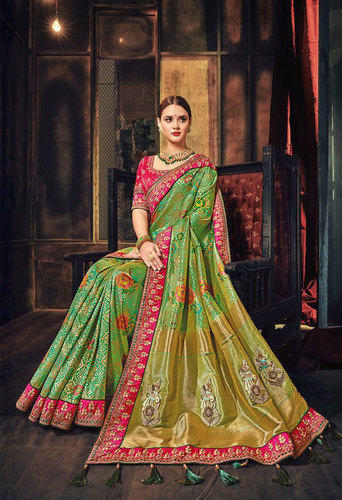ffb4ce7ef2caf Heavy Silk Embroidered Saree With Blouse Piece