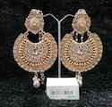 Kundan Pearl Chandbali Earrings