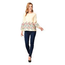 Cotton Full Sleeves Embroidered Fancy Tops