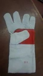 White Industrial Leather Gloves, Size: Free Size, Cuff Length: 1-5 Inches