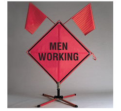 Men Working Roll Up Signs