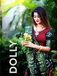 Art Silk With Zari Weaving Bandhani Saree