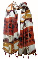 Printed Stole With Fringes