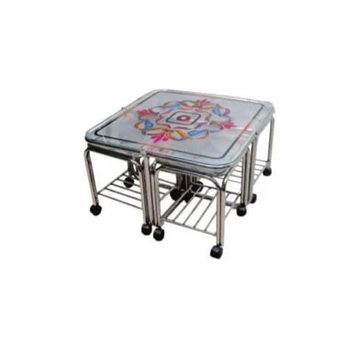 Designer Ss Tea Table With Wheel