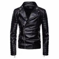 Ellena Stylish Genuine Leather Motorcycle Jacket for Men - Black, Size: Large