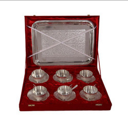 Brass German Silver Cup and Tray Set