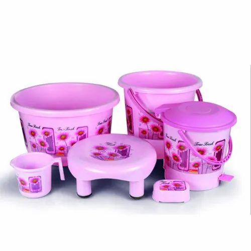 Hariplast Plastic 6 Piece Bathroom Set Printed Unbreakable Rs 450 Set Id 21045290455