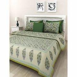 Pure Cotton Green Colour Bedsheet