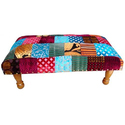 Printed Indian Velvet Chowki, Foot Stool