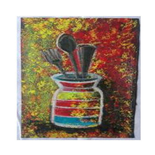 Tableware Cafe Art Semi Abstract Painting, Size: 6 (H) X 8 (W) Inch