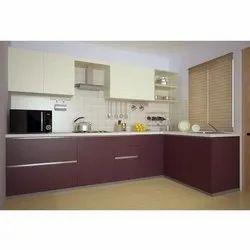 PVC Residential L Shape Modular Kitchen, Warranty: 1-5 Years