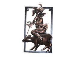 Iron and Wooden Wall Frame of Lord Ganesha Home Decor Hand Crafted Wall Hanging