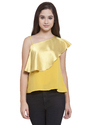 Yellow One Shoulder Cape Top