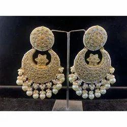 Gold Uncut Diamond Polki Jadau Party Wear Chandbali Earrings