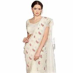 Party Wear Digital Flower Print Linen Sari