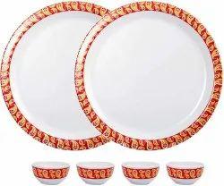 Mehul Set of 6 Pcs, Melamine, Round, 2 Dinner Plate & 4 Bowl Maroon Red Design