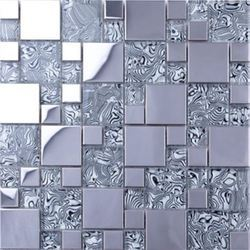 Pearl Mosaico Stainless Steel Kitchen Glass Mosaic Tiles